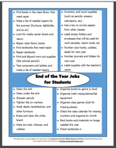 End of the Year Jobs for Students